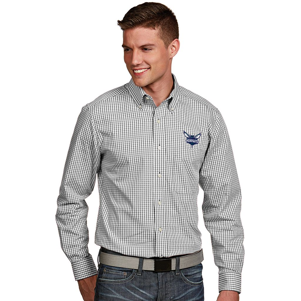 Men's Antigua Charlotte Hornets Associate Plaid Button-Down Shirt