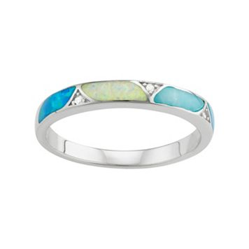 Sterling Silver Lab-Created Blue & White Opal & Lab-Created Larimar Ring