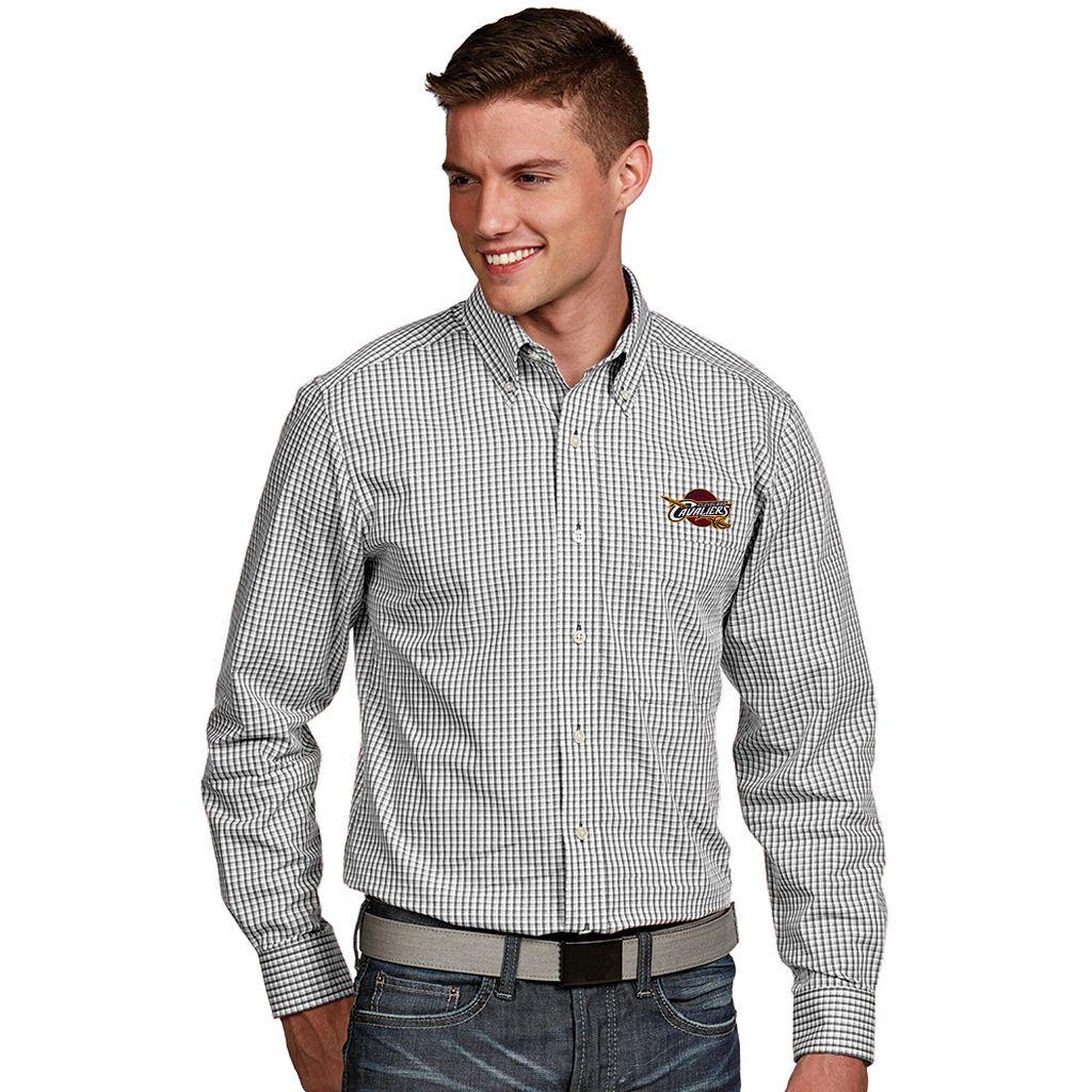 Men's Antigua Cleveland Cavaliers Associate Plaid Button-Down Shirt