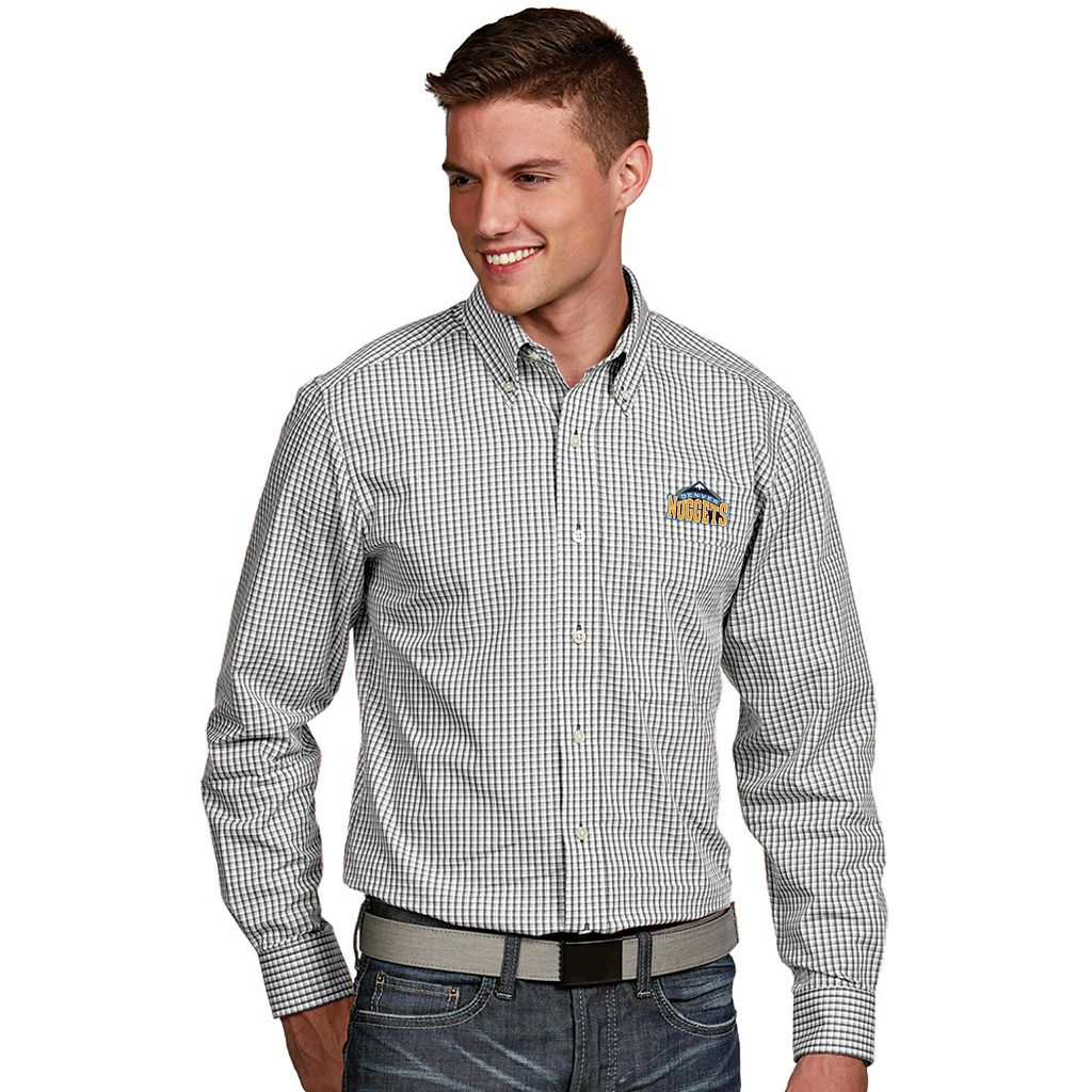 Men's Antigua Denver Nuggets Associate Plaid Button-Down Shirt