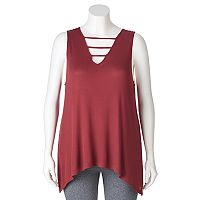 Juniors' Plus Size Mudd® Shark-Bite Hem Ladder Tank