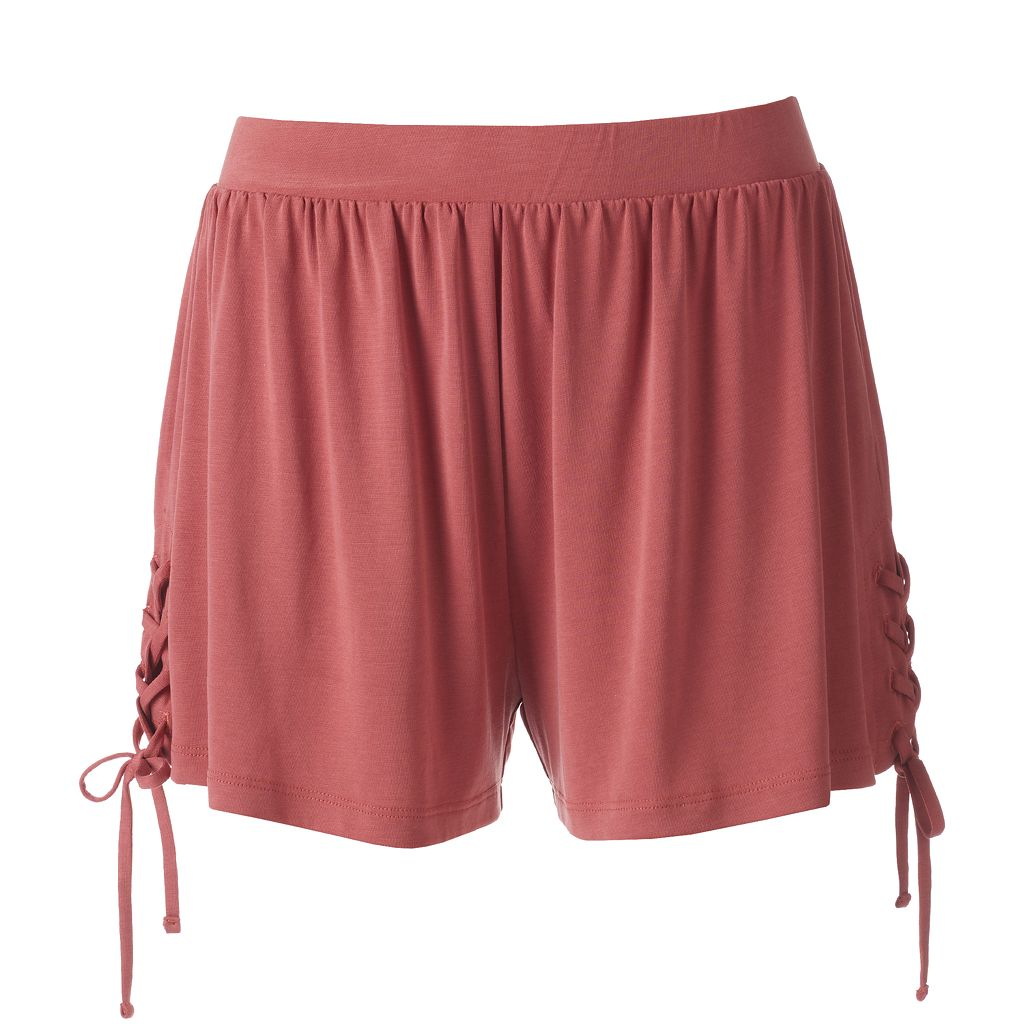 Juniors' Mudd® Lace-Up Side Shortie Shorts