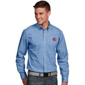 Men's Antigua Detroit Pistons Associate Plaid Button-Down Shirt