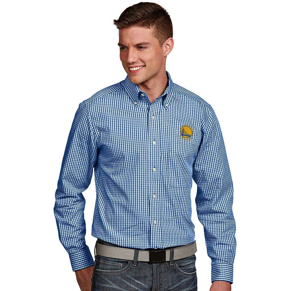 Men's Antigua Golden State Warriors Associate Plaid Button-Down Shirt