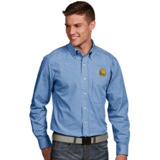 Men's Antigua Golden State Warriors Associate Plaid Button-Down Shirt