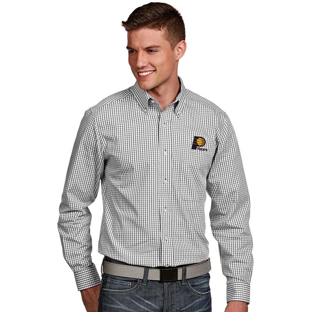 Men's Antigua Indiana Pacers Associate Plaid Button-Down Shirt
