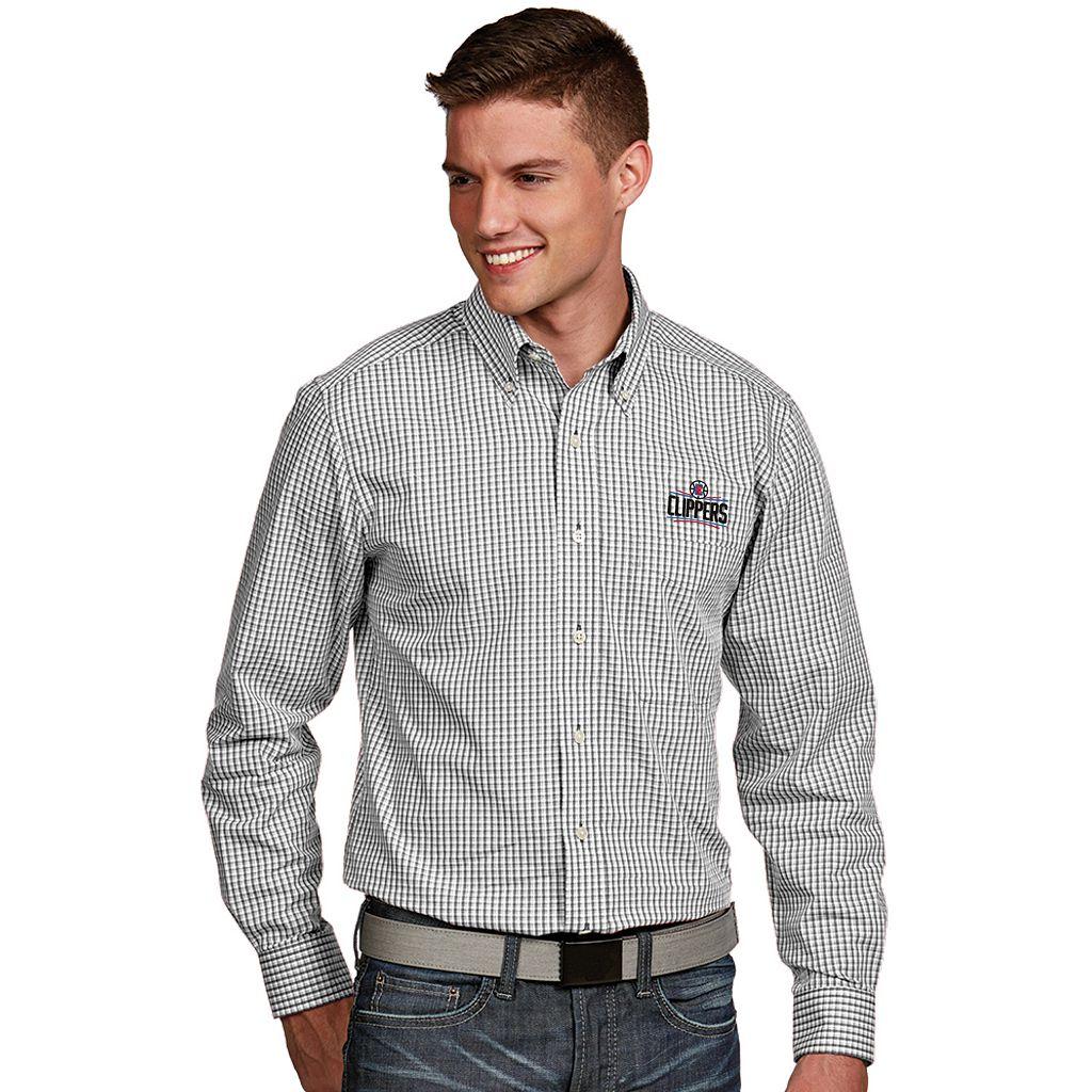 Men's Antigua Los Angeles Clippers Associate Plaid Button-Down Shirt