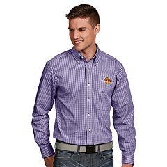 Men's Antigua Los Angeles Lakers Associate Plaid Button-Down Shirt
