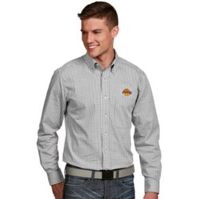 Men's Antigua Los Angeles Lakers Associate Plaid Button-Down Shirt