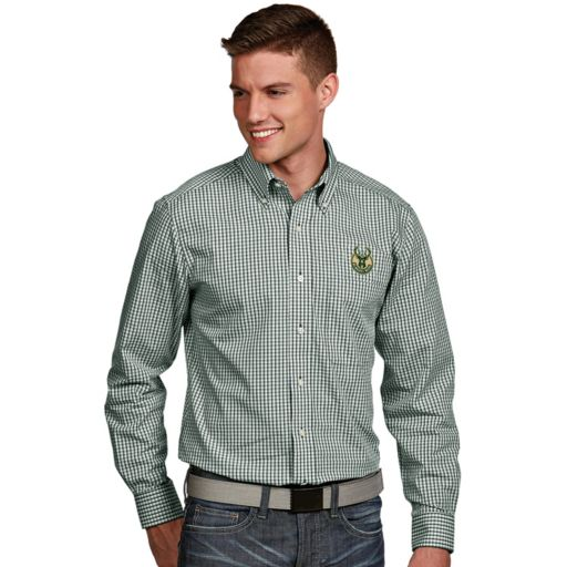 Men's Antigua Milwaukee Bucks Associate Plaid Button-Down Shirt