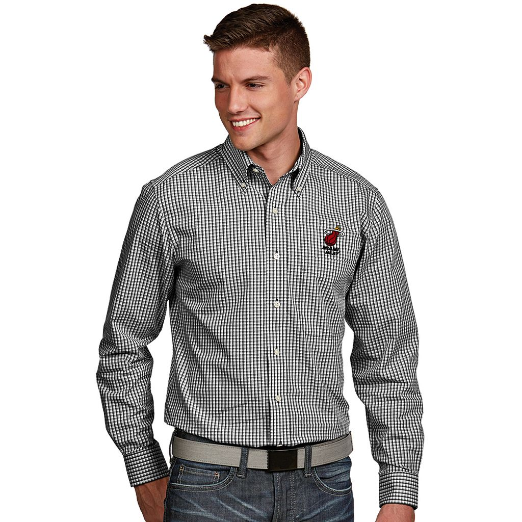 Men's Antigua Miami Heat Associate Plaid Button-Down Shirt