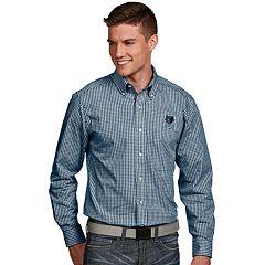 Men's Antigua Memphis Grizzlies Associate Plaid Button-Down Shirt