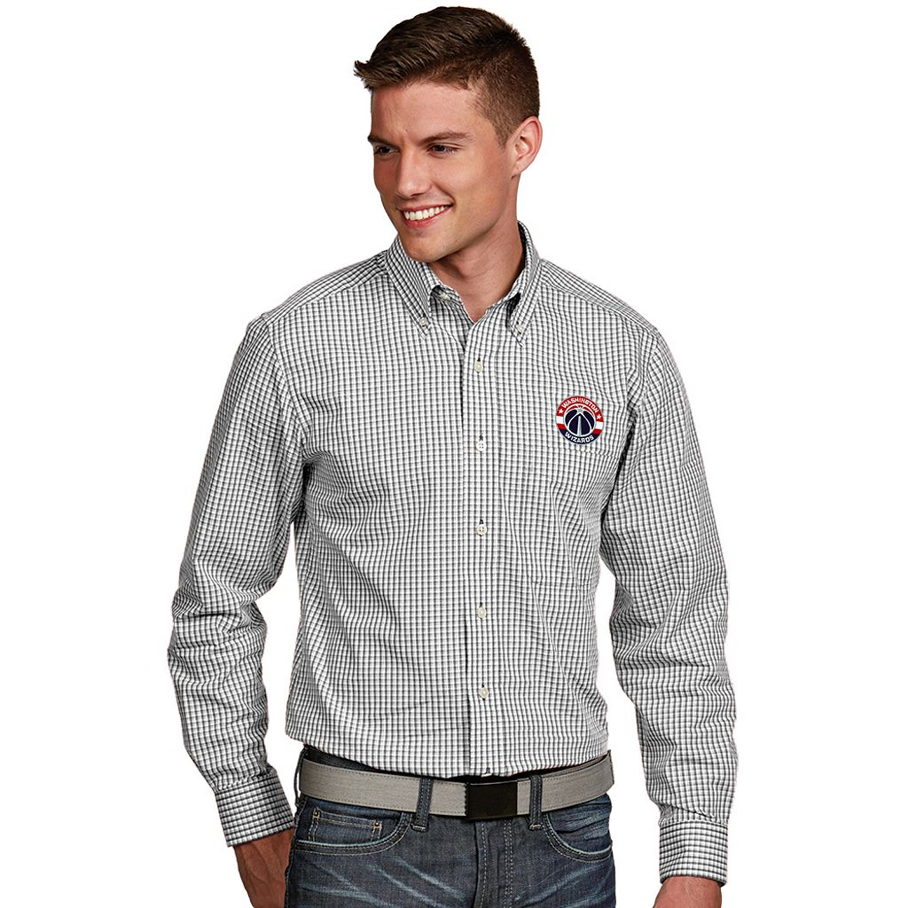 Men's Antigua Washington Wizards Associate Plaid Button-Down Shirt