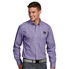 Men's Antigua Sacramento Kings Associate Plaid Button-Down Shirt