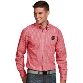 Men's Antigua Portland Trail Blazers Associate Plaid Button-Down Shirt