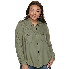 Juniors' Plus Size Mudd® Solid Utility Shirt