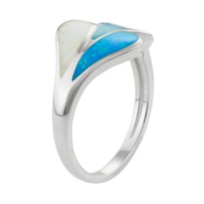 Sterling Silver Lab-Created Blue & White Opal & Lab-Created Larimar Teardrop Ring