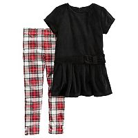 Girls 4-8 Carter's Velour Tunic Top & Plaid Leggings Set