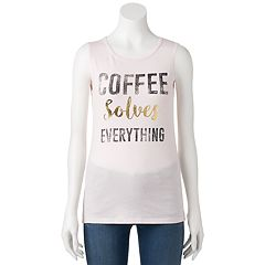 Juniors' 'Coffee Solves Everything' Muscle Graphic Tank