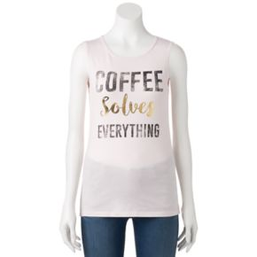 """Juniors' """"Coffee Solves Everything"""" Muscle Graphic Tank"""