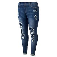 Juniors' Plus Size Mudd® Ripped Patch Ankle Skinny Jeans
