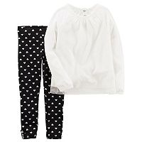 Girl's 4-8 Carter's 2-Piece Tulle Top & Heart Legging Set