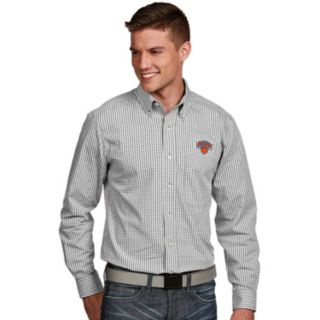 Men's Antigua New York Knicks Associate Plaid Button-Down Shirt