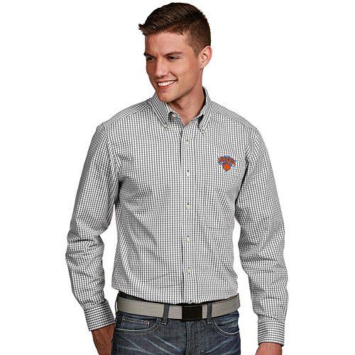 Men's Antigua New York Knicks Associate Plaid Button-Down Shirt