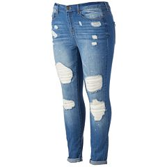 Juniors' Plus Size Mudd® Ripped Ankle Skinny Jeans