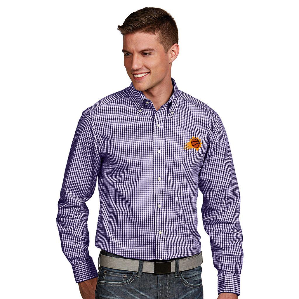 Men's Antigua Phoenix Suns Associate Plaid Button-Down Shirt