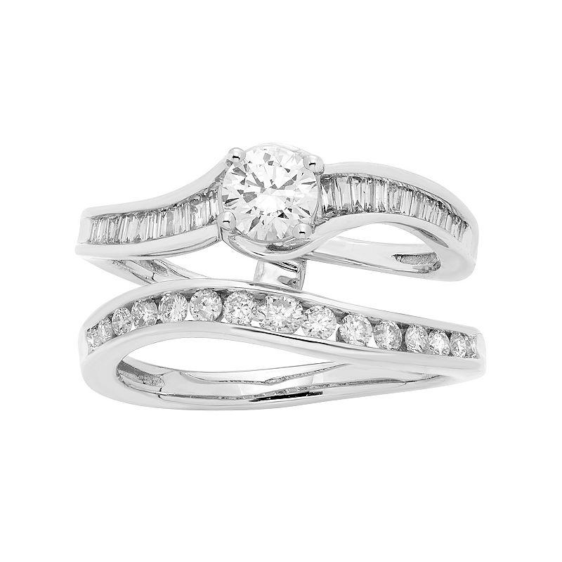 14k White Gold 1 Carat T.W. IGL Certified Diamond Interlocking Engagement Ring Set. Women's. Size: 5