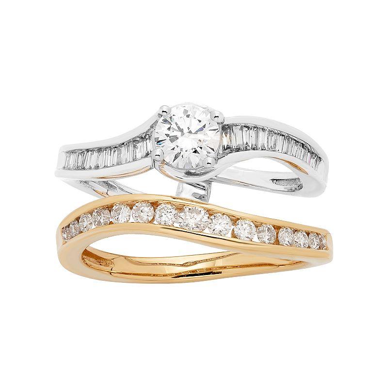 Two Tone 14k Gold 1 Carat T.W. IGL Certified Diamond Interlocking Engagement Ring Set. Women's. Size: 6. White