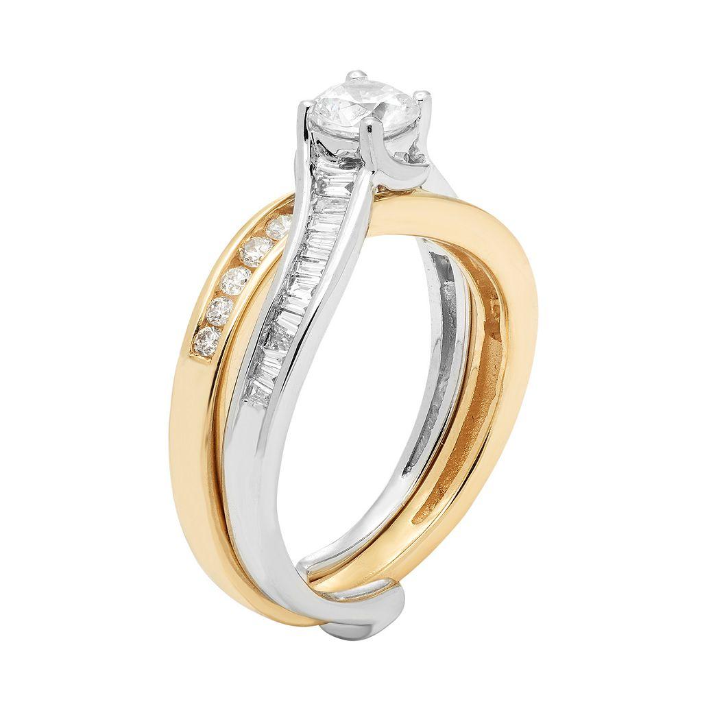 Two Tone 14k Gold 1 Carat T.W. IGL Certified Diamond Interlocking Engagement Ring Set