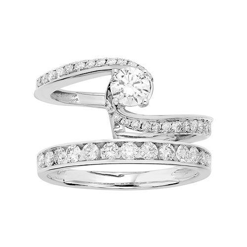 14k White Gold 1 Carat T.W. IGL Certified Diamond Interlocking Engagement Ring Set
