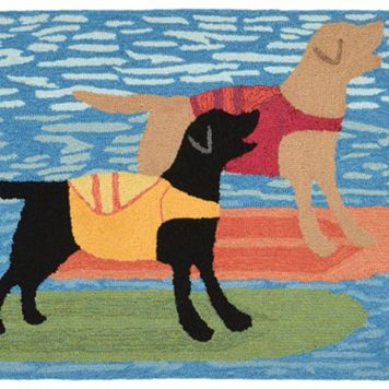 Liora Manne Front Porch Surfboard Dogs Indoor Outdoor Rug