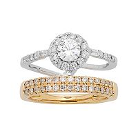 Two Tone 14k Gold 1 Carat T.W. IGL Certified Diamond Interlocking Halo Engagement Ring Set