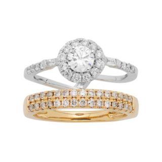 Two Tone 14k Gold 1 Carat T.W. IGL Certified Diamond Interlocking Halo Engagement Ring Set