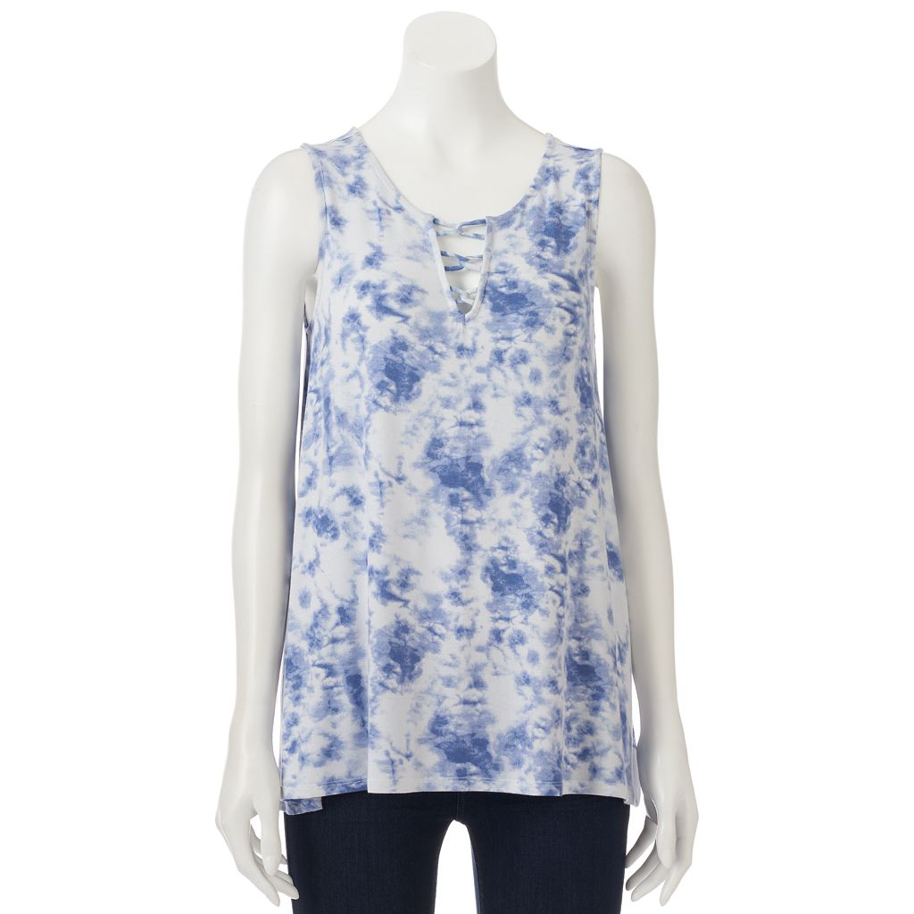 Juniors' Cloud Chaser Strappy Front Tunic Tank