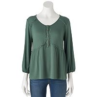 Juniors' Cloud Chaser Lace Inset Peasant Top