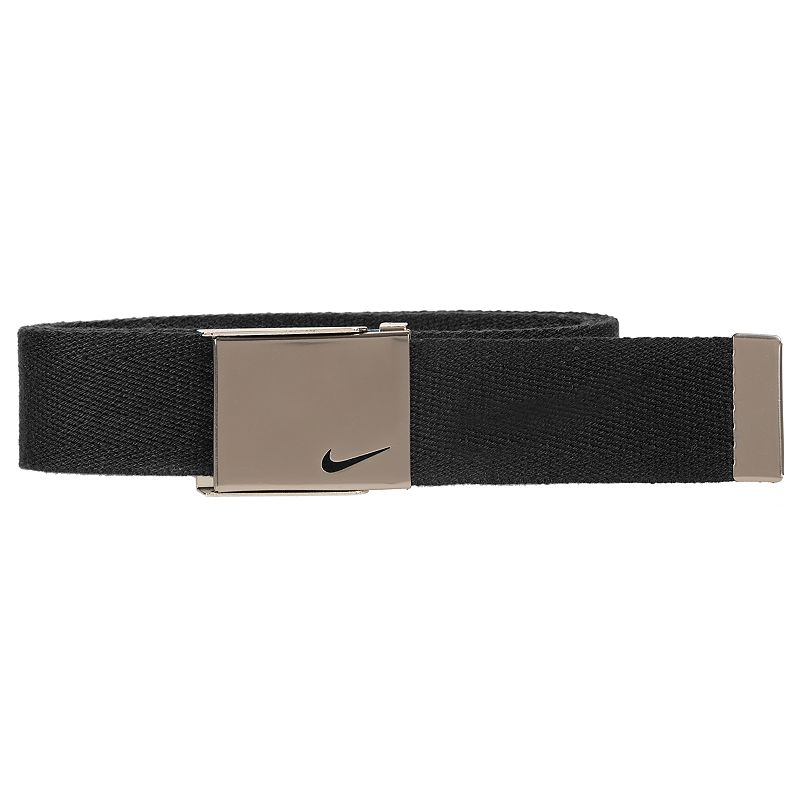 Boys Nike Web Belt, Black He'll secure a great fit with this boys' Nike web belt. 35-mm. width Bushed silver clamp buckle FIT & Sizing One size fits most Fabric & Care Polyester Spot clean Imported Color: Black. Gender: Male. Age Group: Kids. Pattern: Solid. Material: Cotton.