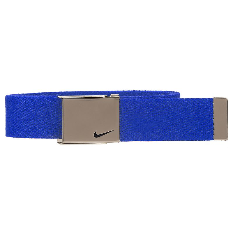 Boys Nike Web Belt, Blue He'll secure a great fit with this boys' Nike web belt. 35-mm. width Bushed silver clamp buckle FIT & Sizing One size fits most Fabric & Care Polyester Spot clean Imported Color: Blue. Gender: Male. Age Group: Kids. Pattern: Solid. Material: Cotton.