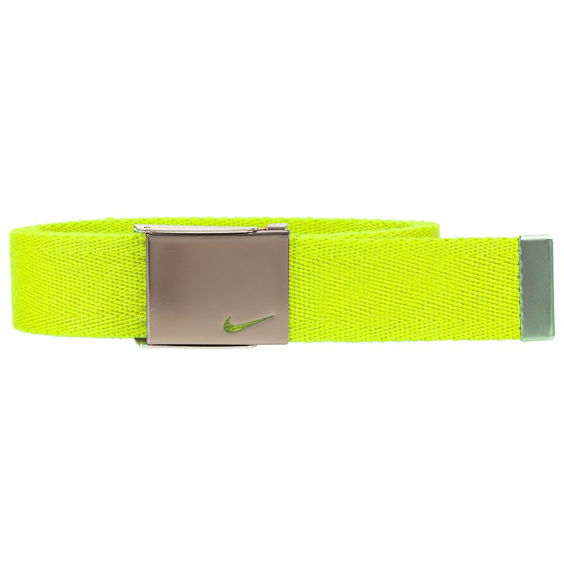 Boys Nike Web Belt, Green He'll secure a great fit with this boys' Nike web belt. 35-mm. width Bushed silver clamp buckle FIT & Sizing One size fits most Fabric & Care Polyester Spot clean Imported Color: Green. Gender: Male. Age Group: Kids. Pattern: Solid. Material: Cotton.