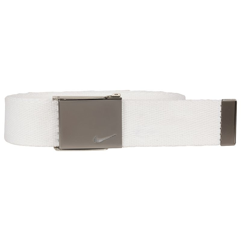 Boys Nike Web Belt, White He'll secure a great fit with this boys' Nike web belt. 35-mm. width Bushed silver clamp buckle FIT & Sizing One size fits most Fabric & Care Polyester Spot clean Imported Color: White. Gender: Male. Age Group: Kids. Pattern: Solid. Material: Cotton.