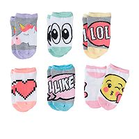 Girls 4-12 Emoji 6-pk. No-Show Socks