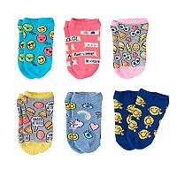 Girls 4-12 Emoji Pattern 6 pkNo-Show Socks