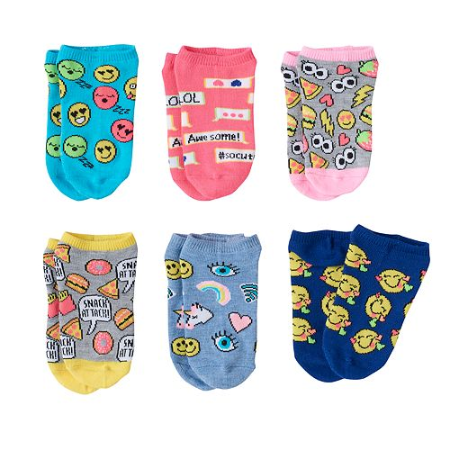 Girls 4-12 Emoji Pattern 6-pk. No-Show Socks