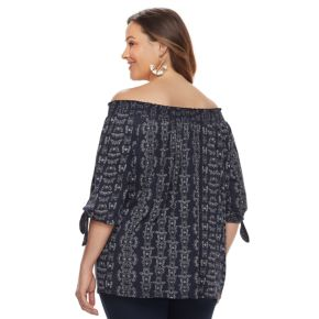 Plus Size SONOMA Goods for Life™ Printed Off-the-Shoulder Top