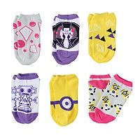 Girls 4-12 Despicable Me 6 pkNo-Show Socks