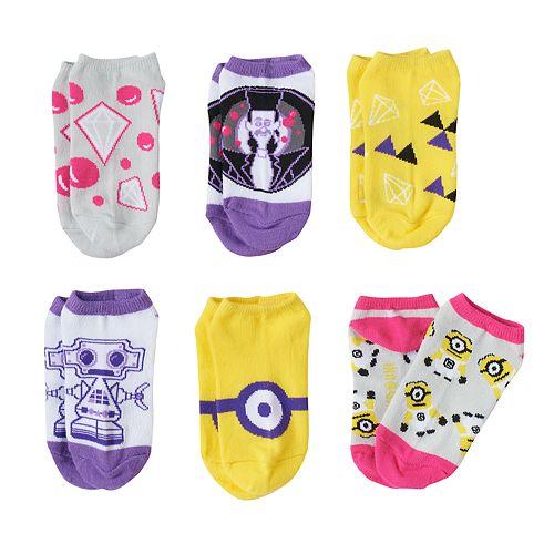 Girls 4-12 Despicable Me 6-pk. No-Show Socks