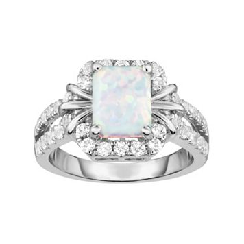 Sterling Silver Lab-Created White Opal & White Sapphire Halo Ring